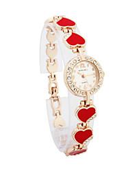 Stylish Women's Alloy Quartz Movement Glass Round Shape with Rhinestone Dress Watch
