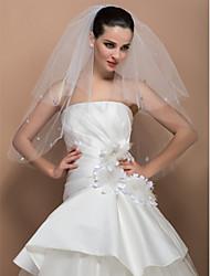 À deux vitesses Cut Elbow Veil Wedding Bord Avec Crystal