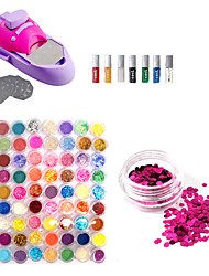 DIY arte del clavo Barniz de Color Printing Machine Kit y 72 Art Nail Glitter Colores