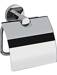 Contemporary Chrome Finish Solid Brass Wall Mount Silver Toilet Roll Holders