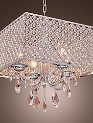 modernes 4 - lampes suspendues légères avec des gouttes de cristal dans le carré