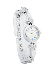 Ladies' Alloy Quartz Movement Glass Round Shape Dress Watch