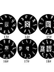 1PCS 2D Metal Flowers Nail Art Image Stamp Plate (Assorted Colors,NO.13-18)