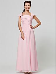 Robe de Demoiselle d'Honneur - Rose Claire A-line/Princesse Col carré Longueur ras du sol Mousseline polyester Grandes tailles