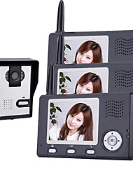 Wireless Night Vision Camera with 3.5 Inch Door Phone Monitor (1camera 3 monitors)