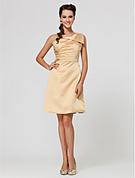 Lanting Knee-length Satin Bridesmaid Dress - Gold Plus Sizes / Petite A-line / Princess One Shoulder