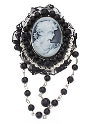 Z&X®  Exquisite Vintage Relievo Head Portrait Black Pearl Brooch