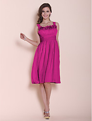 Lanting Bride® Knee-length Chiffon Bridesmaid Dress - A-line / Princess Square / Straps Plus Size / Petite withFlower(s) / Ruching /