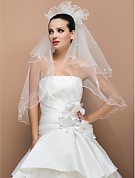 Three-tier Elbow Pencil Edge Wedding Veil With Pearl