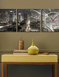 New York Cityscape Stretched Canvas Wall Clock Set of 3