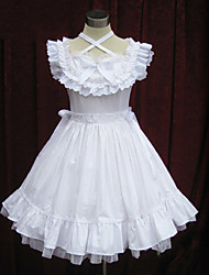 Sleeveless Knee-length White Cotton Country Lolita Dress