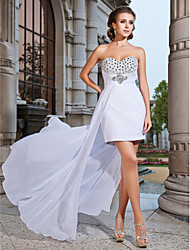 Homecoming Cocktail Party/Formal Evening Dress - White Plus Sizes Sheath/Column Strapless/Sweetheart Short/Mini/Asymmetrical Chiffon