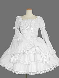 Long Sleeve Knee-length White Cotton Princess Lolita Dress