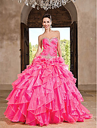 Ball Gown Sweetheart Floor-length Organza Dress With Ruffles
