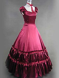 Manica corta piano di lunghezza raso Red Victorian Gothic Lolita Dress