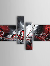 Oil Paintings Set of 4 Modern Abstract Reds Flowing Lines Hand-painted Canvas Ready to Hang