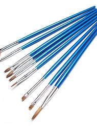 9pcs Plastic UV Gel Nail Brush(Random Color)