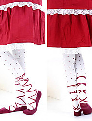 Socks/Stockings Sweet Lolita Lolita Lolita Red / White Lolita Accessories Stockings Print For Women Cotton