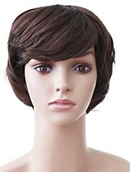 Capless Short Brown Wavy High Quality Synthetic Japanese Kanekalon Parties Wigs