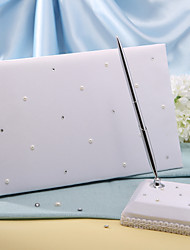 """White Starlight"" Wedding Guest Book and Pen Set Sign In Book"
