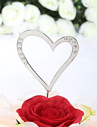 Cake Topper Non-personalized Hearts Wedding / Anniversary / Bridal Shower / Quinceañera & Sweet Sixteen / Birthday Rhinestone Silver