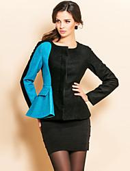 contraste de cor ts ruffle cintura casaco de tweed Slim