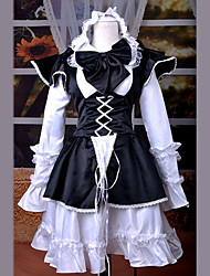 Skirt / Maid Suits Classic/Traditional Lolita Lolita Cosplay Lolita Dress White / Black Patchwork Long Sleeve Medium LengthDress /