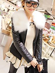 Alquiler de manga larga de cuello de descubierta PU Casual / Oficina Jacket (más colores)