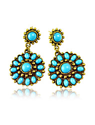Classic Alloy with Blue Beads Chandelier Earrings