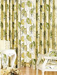 (Um par) roupa de impressão verde cortina de poupança de energia