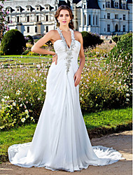 Sheath / Column V-neck Court Train Chiffon Wedding Dress with Beading Appliques Side-Draped by LAN TING BRIDE®