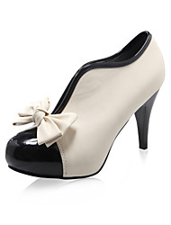 Women's Spring Fall Winter Fashion Boots Leatherette Party & Evening Dress Stiletto Heel Bowknot Beige