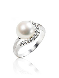 Charmant argent sterling eau douce Pearl Ring (8,5 * 8,5 mm)