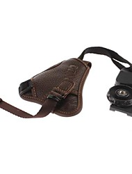 Debo Genuine Leather Wrist Strap for Camera (Black&Coffee, Large Size)