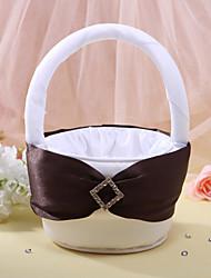 Nice Flower Basket In White Satin With Rhinestone Flower Girl Basket