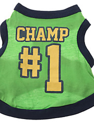 Dog Shirt / T-Shirt / Jersey Green Dog Clothes Summer Letter & Number