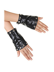 Wrist Length Fingerless Glove Faux Leather Party/ Evening Gloves