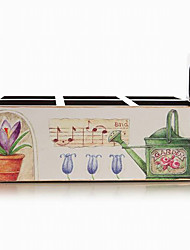 Antique European Style Flower and Watering Can Pattern Wooden Storage Box