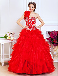 Prom/Quinceanera/Formal Evening/Sweet 16 Dress - Ruby A-line/Princess/Ball Gown One Shoulder/Sweetheart Floor-length Organza