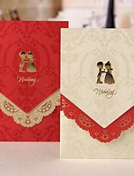 Elegant Wedding Invitation With Laser-cut Floral Border - Set of 50 (More Colors)