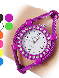 Женские Модные часы Часы-браслет Кварцевый сплав Группа Блестящие КольцеобразныйЧерный Белый Синий Оранжевый Зеленый Фиолетовый Желтый