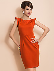 TS Chic Shoulder Design Simplicity Sleeveless Sheath Dress