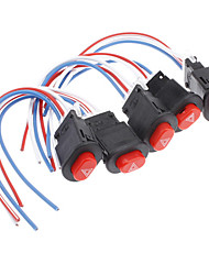DIY Push Button Hazard Light Switch with Wire (Red & Black, 5 PCS)