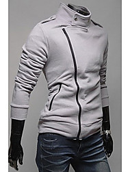 RR BUY Slim Stand Collar Slant Zipper Flocking Slim Jacket