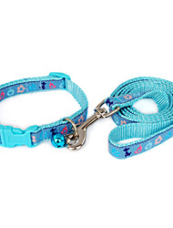 Flower and Puppy Pattern Collar with Little Bell and Leash for Dogs