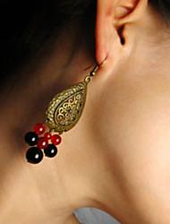 Femmes Vintage Boucles d'oreilles en agate Bohemian Pompons