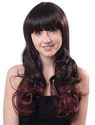 Capless Long Brown Curly Heat-resistant Full Bang Wigs