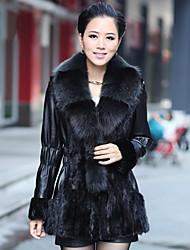 Manga larga de piel de zorro cuello de chal de piel de cordero con piel de visón Casual / Fiesta Coat (más colores)
