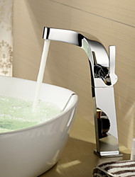 bestreuen ® von lightinthebox - einzigen Handgriff aus massivem Messing verchromt Centerset Waschbecken Wasserhahn (groß)