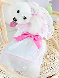 Summer Wedding Cotton Dresses for Dogs White / Pink